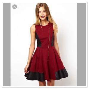 ASOS skater dress assymetrical zip burgundy dress